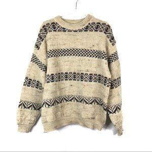 Pendleton   Tan Marled Patterned Wool Sweater